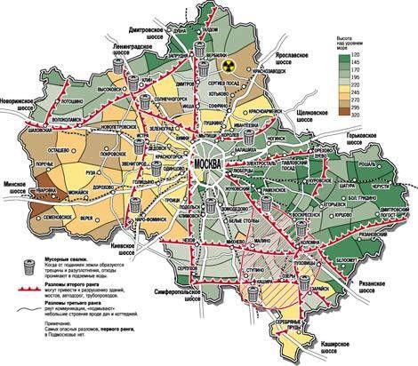 Карта разломов Москвы и